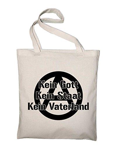 Kein Gott Kein Staat Kein Vaterland Anarchie Logo Jute Jutebeutel, Beutel, Stoffbeutel, Baumwolltasche Natur