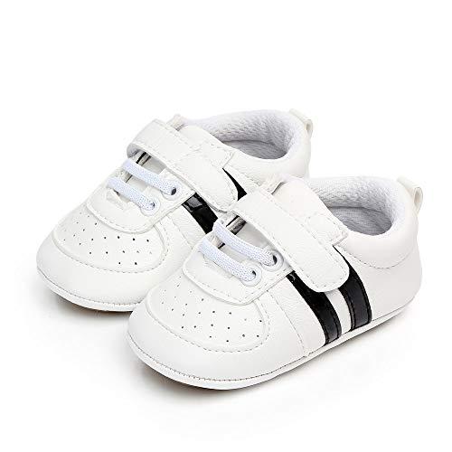 Ortego Unisex Baby Krabbelschuhe Jungen Mädchen Lauflernschuhe Kleinkind Rutschfesten Babyschuhe Lederpuschen Weiß Schwarz 12-18 Monate