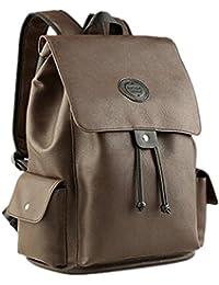 YANFEI Ligero PU cuero estudiantes bolsa mochila ocio corto viajando multifunción estilo británico hombro mochilas gran capacidad
