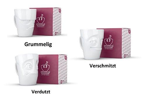 FIFTYEIGHT PRODUCTS TV Tassen Henkelbecher 3-er Set :Grummelig, Verschmitzt & Verdutzt je 350ml