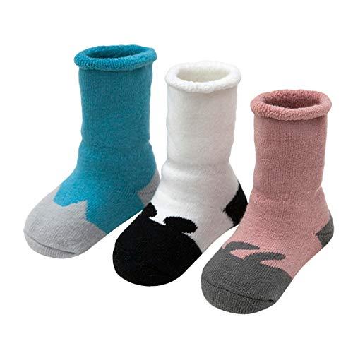 ANIMQUE Baby Winter Socken Dicke Cartoon Tiere 0-6 Monate Neugeborene Kleinkind Jungen Mädchen Baumwolle Söckchen Warm 3er Pack (DW-G)