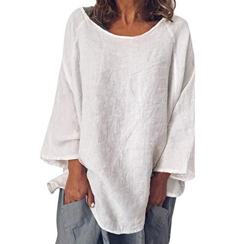 Produp Mode Neue Damen Tops Casual Oansatz 3/4 Ärmel Einfarbig Leinen T-Shirt Lose Pullover Top Bluse Tie Neck Silk Dress
