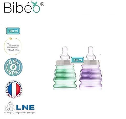 2 Baby Milk Feeding bottles BIBIGO.40% Organic.Unique Air vacuum Collapsible Design for Colic Relief and Safe Powder prefill Storage.10 oz-330ML,2 Medium flow teats.GMO & BPA free.
