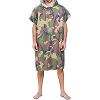 laamei Adulto Unisex Poncho con Capucha Camuflaje Militar Capa Toalla de Baño Verano Vestidos Playa Albornoz de Nadada o de Playa Suave Secado Rápido(108x89cm)