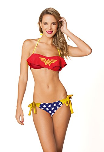 Dc Comics Sexy Wonder Woman Cami Ruffle Bandeau Side Tie Bottom Bikini set-Xlarge (Wonder Set Cami Woman)