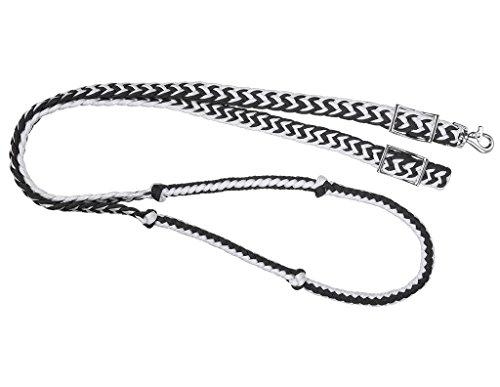 Tough 1 Robuste Seilzügel mit Knoten, 1 Stück, schwarz/weiß - Cord-a-line-top