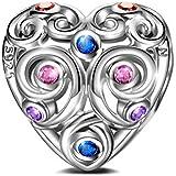 NINAQUEEN Regalos Navidad Abalorios Charms Mujer Amor Eterno Plata de ley 925 Corazón con 5A Circonita Multicolor joyería Cumpleaños Aniversario Día de San Valentín Madre Esposa Hija Niña Ella Su
