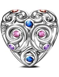 NINAQUEEN Corazón Abalorios Charms para Mujer Amor Eterno, Plata de ley 925 con 5A Circonita Multicolor, Envases de Regalo, Cada Momento Especial