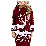 LOPILY Weihnachtskleid Damen Plus Size Jumperkleid Locker mit Elk Druck Umstand Strickkleid Weihnachten Sweatkleider Reindeer Oversize Hoodie Kapuzenpullover Freizeit Shirtkleid Winter (Rot, 42)