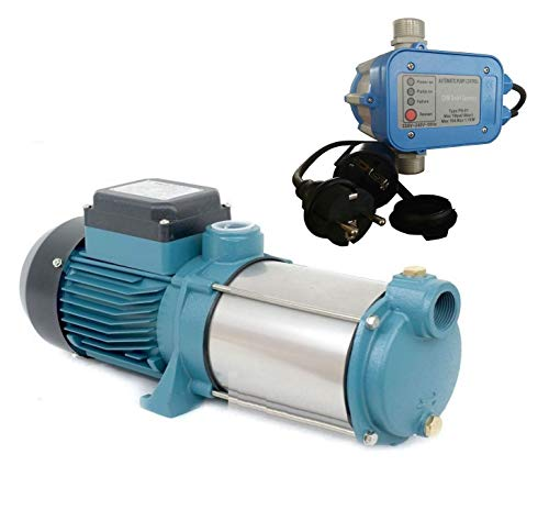selpumpe MHI1300 INOX + Steuerung PS-01 Trockenlaufschutz - Leistung: 1300W - Spannung: 230 V / 50 Hz 6000 L/h - 100l/min. 5,5 bar. Laufräder aus Edelstahl. ()