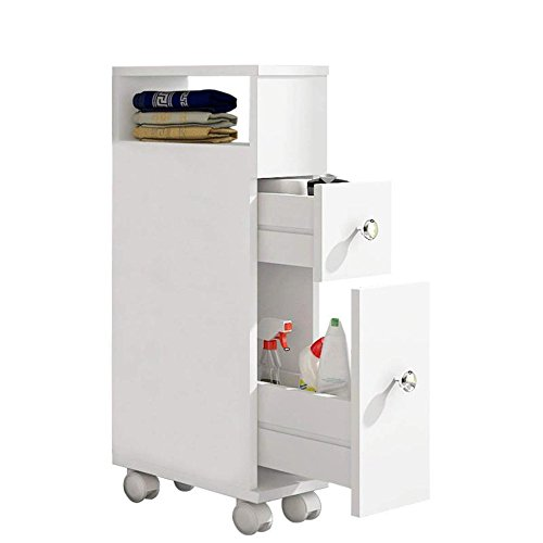 ease Badezimmerschrank mit Rollen Badezimmerspeicher mit 2 Schubladen Weißer Holzbadezimmerschrank 15 × 33 × 65 cm Weiß