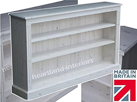Low Pine Bookcase 5ft Wide, Handcrafted & White Washed Bookshelves, Choice of Colours, No flat packs, No assembly