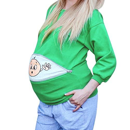 FIRSS Damen Umstandsshirt,Baby Lustig Umstandsmode Mutterschaft Baby Spähen T-Shirt Kleidung Stilltop Schwangerschaft (Krankenpflege Gestreifte Kostüme)