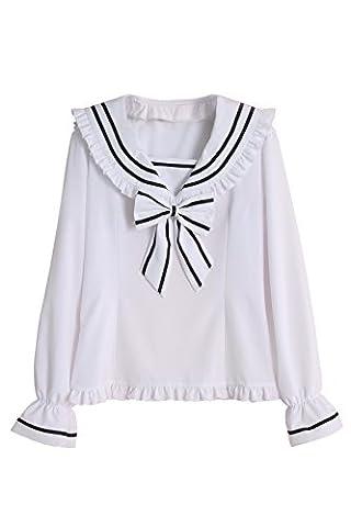 Nuoqi Women's Sailor Collar Shirt Lolita Bubble Sleeve Blouse Top (UK18, GC267A-NI)