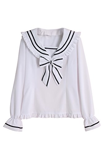 Girl Frauen School Anime Uniform (Nuoqi Damen Seemann Kragen Hemd Lolita Bubble Ärmel Bluse Top (M, GC267A-NI))