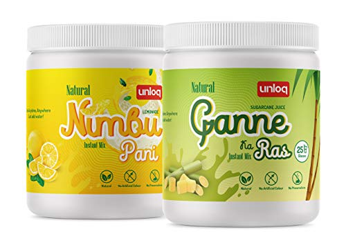 Unloq Instant Drink Mix Combo Pack, Nimbu Pani (Lemonade) & Ganne Ka Ras (Sugarcane Juice), 375g Each