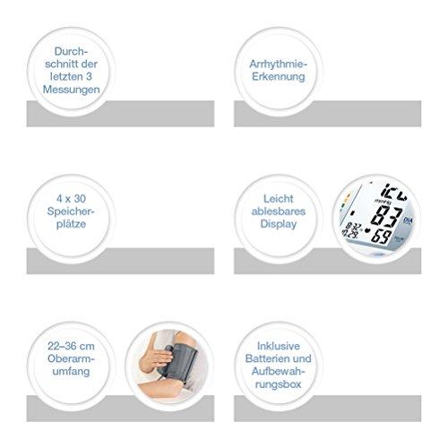 Sanitas SBM 21 Oberarm-Blutdruckmessgerät, vollautomatische Blutdruck- und Pulsmessung am Oberarm mit Arrhythmie-Erkennung - 2