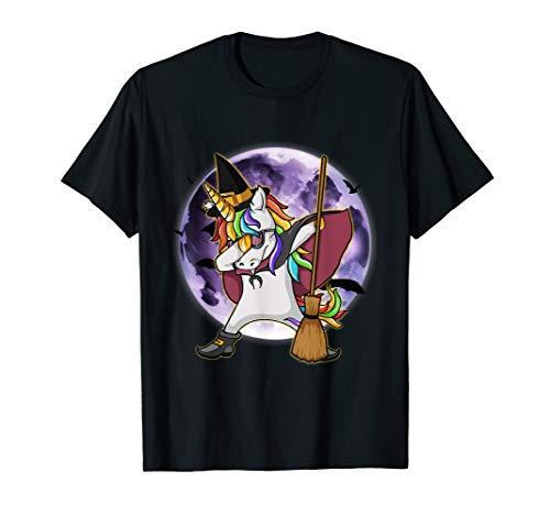 cc2d949ce6df7 Dabbing Unicorn Witch Funny & Scary Halloween Human Costume T-Shirt