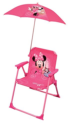 FUN HOUSE Minnie Chaise Pliant + Parasol Fille, Rose