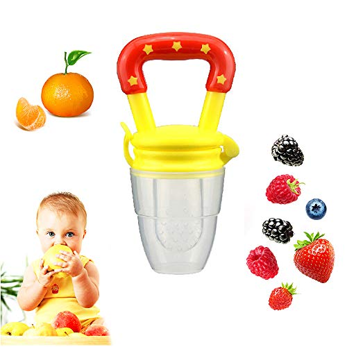 Coupon Matrix - Baby Food Feeder Fruit Pacifier Tinabless Silicone Nipple Teething Pacifiers Teethers CM© toys for Toddlers Kids Infant (Yellow)