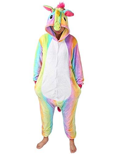 Tier Karton Kostüm Einhorn PyjamaTierkostüme Jumpsuit Erwachsene Schlafanzug Unisex Cosplay (L(Höhe162-175CM), Regenbogen)