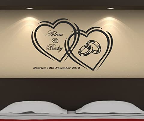 Personailsed Wedding Rings & Date Wall Art Sticker 86cm (w) x 56cm (h) SG64, Please state colour on purchase otherwise black will be sent