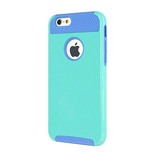 iPhone 7 Plus Hülle, iPhone 8 Plus Hülle, MTRONX Hybrid Schutzhülle Hart Case TPU weiche Silikon Stoßfest Tasche Case Cover für Apple iPhone 7 Plus iPhone 8 Plus - Schwarz/Schwarz(HC-BKBK) Himmelblau & Lila