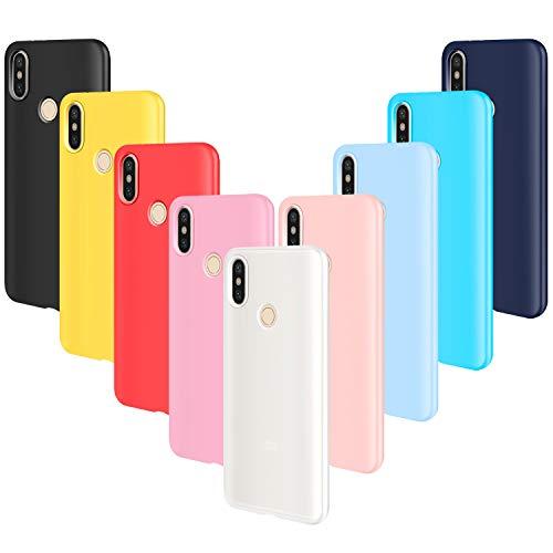 AROYI 9pcs Funda para Xiaomi Redmi Note 5, Carcasa Protector Ultrafino Silicona TPU Shock-Absorción Anti-rasguños Case Cover-Negro Rojo Azul Oscuro Rosa Amarillo Azul Morado Azul Claro Traslucido