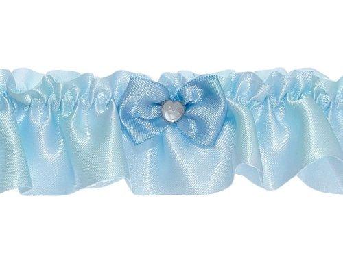 Strumpfband blau mit kleiner Schleife und Herz