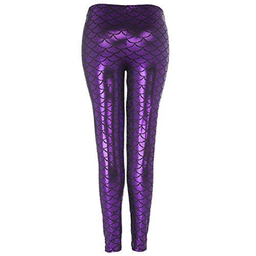 Damen Leggings Hose Fish Scale Mermaid Strumpfhose Faux Leder mit Pailletten Purple