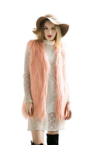 Braune Fell Weste (DINGANG® Damen Pelz Fellweste Weste Frauen Lederweste Fellweste Faux Fur Vest Gilet Waistcoat Winter,(XS-XXL) 6 Größen, 7 Farben)