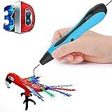 LZX 3D-Druckstift, Sicher Und Einfach Zu Bedienen 3D-Stift Mit LCD-Bildschirm, Geeignet Für Kinder, 3D-Zeichnungs Stift, 20-Farbige Pla-Filament-Nachfüllung (Blau)