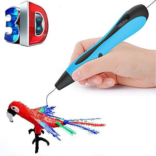 LZX 3D Penna Di Stampa, Sicuro E Facile Da Usare Penna 3D Con Schermo LCD, Adatto Per I Bambini, 3D Pen Drawing, 20-Colore Pla Filamento Refill (Blu)