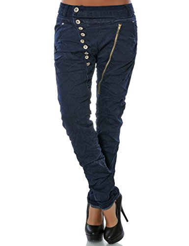 Damen Boyfriend Jeans Hose Reißverschluss Knopfleiste (weitere Farben) No 14145, Farbe:Navy;Größe:38 / M (Hose Low Cord Stretch Rise)