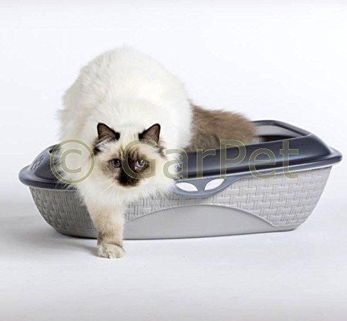 Bama Spa Katzentoilette XXL 60 cm Rattan Optik Katzenklo Katzen Schalen Toilette WC Rand