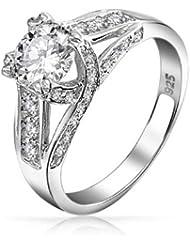 Bling Jewelry Vintage entrecroisé ronde CZ Solitaire bague de fiançailles 925 Silver