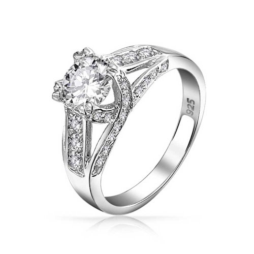 2 CT Runder brillant Zirkonia Silber Criss Cross Band Krone Mount Solitaire AAA CZ Engagement Ring - 2ct Ring Cz Engagement