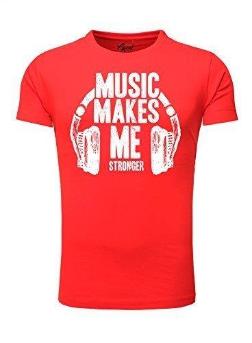 Goodflow Männer T-Shirt kurzarm DJ T Shirt Music Print Rot
