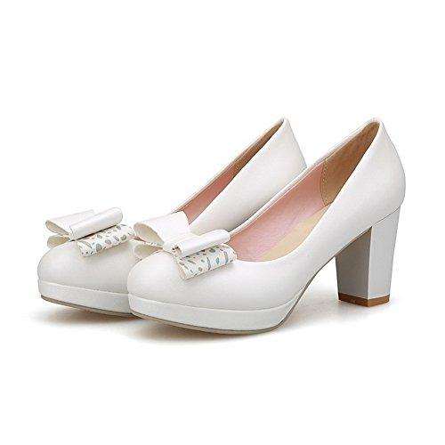 AgooLar Damen Weiches Material Ziehen Auf Rund Zehe Hoher Absatz Rein Pumps Schuhe Weiß
