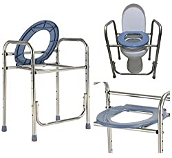 SEESEE.U Portable Toilet, Height Adjustable Toilet Frame Surround/Non- Slip Mat, Bathroom Support For Elderly Seniors Toilet Chair Heavy Bedside Commode Chair