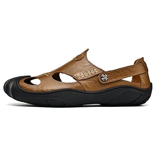 GOMNEAR Herren Leder Geschlossene Zehe Sandalen Sommer Schlüpfen Anti-Rutsch Slipper Mode Strand Beiläufig Gehen Schuhe Khaki
