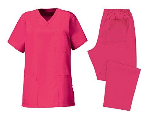Workwear World WW389Berufskleidung für Chirurgen, Ärzte, Zahnärzte, OP-Kittel, Colours Collection, unisex, Krankenhaus-Set–Pink, rosa, WW389