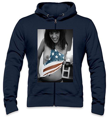 Sexy Hot Girl American Flag Mens Zipper Hoodie Large