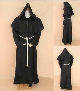 Moine noir Robe et Costume Hood. Assistant, Prêtre, Mage, ou Cardinal Robe, Sorcier Mage ou Prêtre costume, Christian Jésus costume.taille XL: hauteur 182cm-190cm