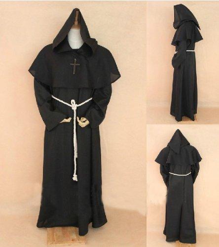 Schwarze Mönch Robe und Hood-Kostüm. Zauberer, Priester, Magier, oder Kardinal Gewand, Zauberer, Magier oder Priester Kostüm, Christian Jesus Kostüm,Größe L: Höhe 170cm-182cm