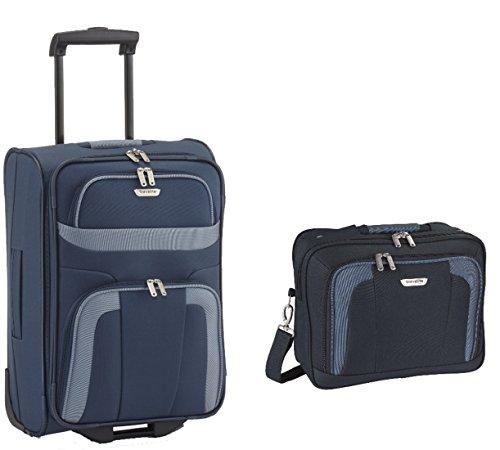 Trolley-Koffer (M) 63 cm + Beauty-Case - Farbe: Schwarz, Blau od. Rot, Travelite - Serie Orlando (Blau) -