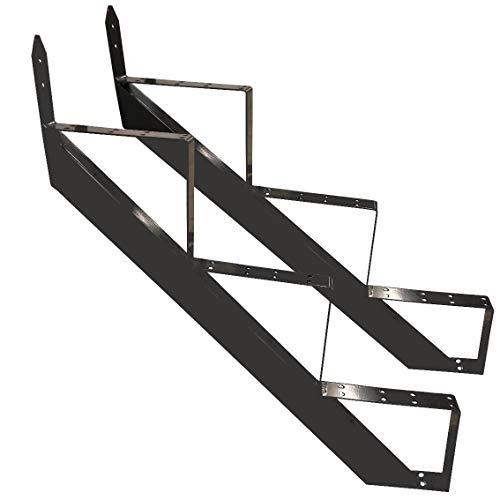 Treppenrahmen 2-10 Stufen-Wahl Stahl-Treppe RAL 7016 Anthrazit Treppenholm/Wählen Sie die Stufen-Anzahl (2 stufig) (3 stufig)