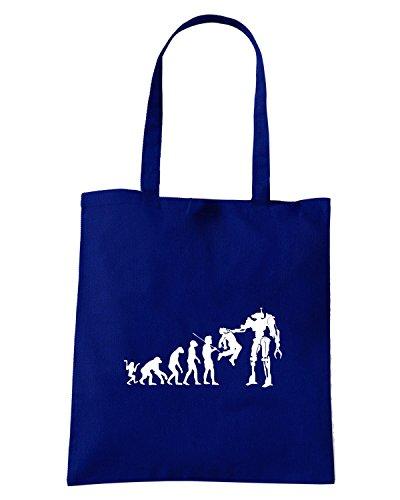 T-Shirtshock - Borsa Shopping FUN0129 05 30 2013 Evolution to Termination T SHIRT det2 Blu Navy