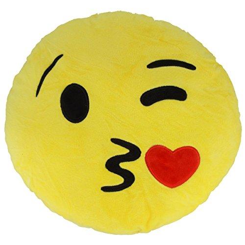 Superweiche Smiley Kissen für jede Stimmungslage, 30 x 9 cm, verschiedene Motive (Kiss)