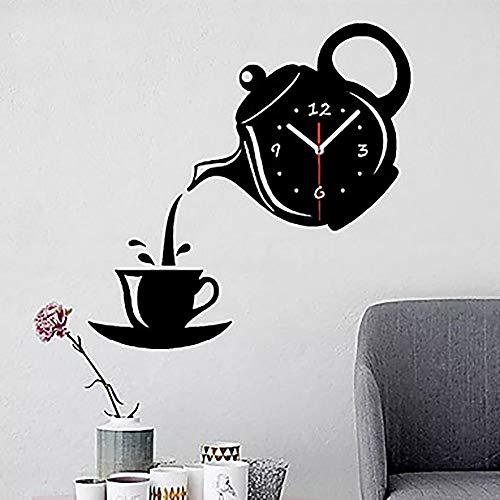 y Hübsch Kreative gut aussehende Teekanne Silber Gold Schwarz Modern/Zeitgenössisch Kunststoff Und Metall Unregelmäßig Innen/Außen, Wanduhr Mode (Color : Black) ()